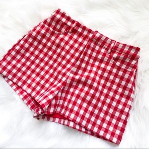 NWT Molly Green gingham red white hi waist shorts